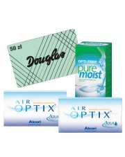 2x Air Optix Aqua 6 szt. + Pure Moist 300 ml + karta Douglas 50 zł GRATIS!