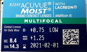 1-Day Acuvue Moist multifocal parametry
